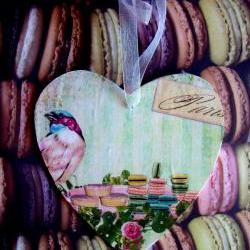 Wooden Heart with bird and macaron design
